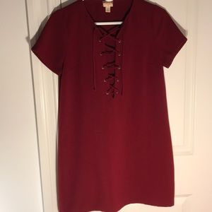 Nasty Gal red dress with cross-tie detail